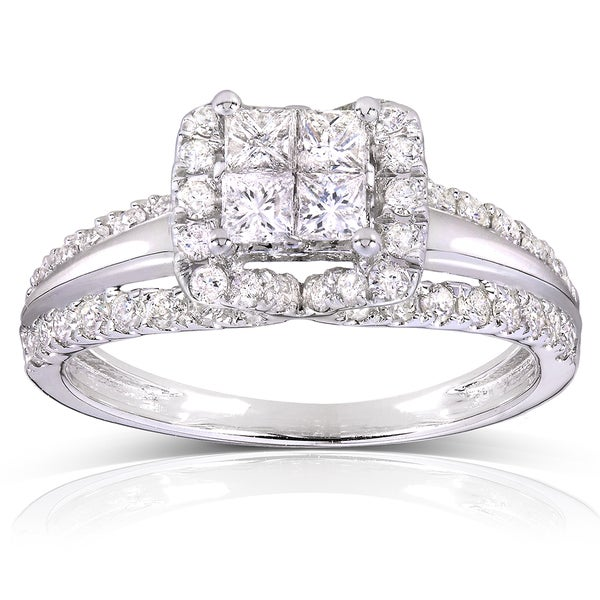 Annello by Kobelli 14k White Gold 1ct TDW Princess Quad Diamond Engagement Ring (H-I, I1-
