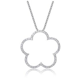 Collette Z Sterling Silver Cubic Zirconia Flower Shape Necklace