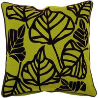 Leaf Green Cotton and Jute Feather or Poly Filled Decorative Throw Pillow 22inch