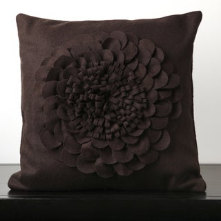 Dark Purple Feather or Poly Filled Filled Floral Wool Decorative Throw Pillow