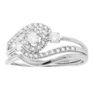 Beverly Hills Charm 14k White Gold 1/3ct TDW Round Swirl Halo Diamond Bridal Set