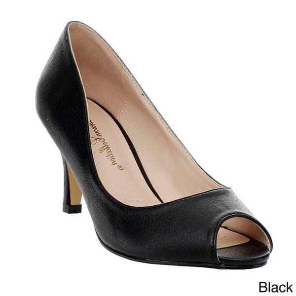 black kitten heel open toe shoes
