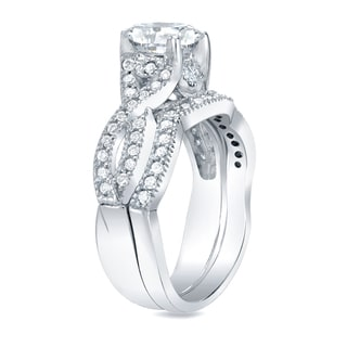 Auriya 14k Gold 1ct TDW Certified Cushion Diamond Bridal Ring Set (H-I, SI1-SI2)