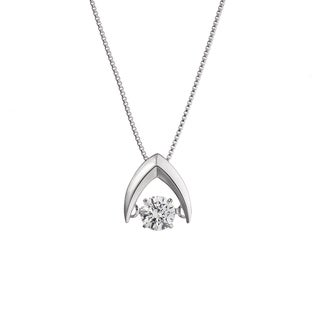 Auriya 'Dancing Stone' 14k White Gold 1/4ct TDW Diamond Necklace