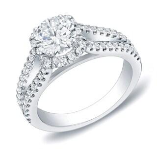 Auriya 14k Gold 1 1/4ct TDW Round Certified Diamond Engagement Ring