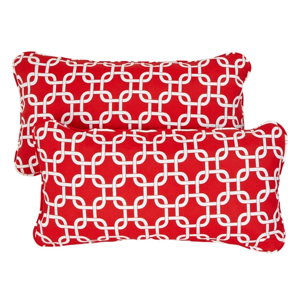 Knotted Red Corded 12 x 24 Inch Indoor/ Outdoor Lumbar Pillows (Set of 2)