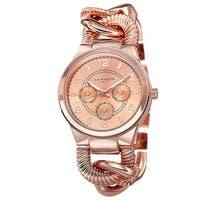 Akribos XXIV Women's Multifunction Design Twist Chain Link Rose-Tone Watch