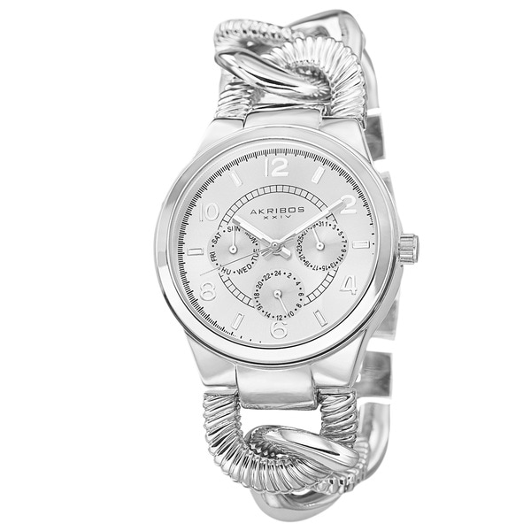 Akribos XXIV Women's Multifunction Design Twist Chain Link Silver-Tone Watch