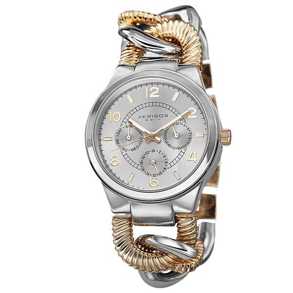 Akribos XXIV Women's Multifunction Design Twist Chain Link Two-Tone Watch