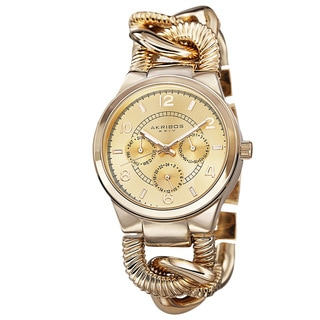 Akribos XXIV Women's Multifunction Design Twist Chain Link Gold-Tone Watch