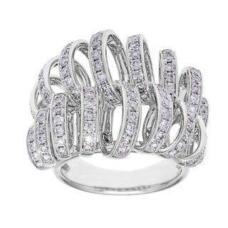 Azaro 18k Whte Gold 1 4/5ct TDW Diamond Pave Loop Fashion Ring (G-H, SI2-I1)
