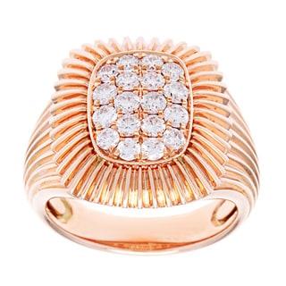 Azaro 18k Rose Gold 3/4ct TDW Prong-set Textured Fashion Ring (G-H, SI2-I1)