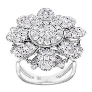 Azaro 18k White Gold 2 1/2ct TDW Pave Diamond Flower Ring (G-H, SI2-I1)
