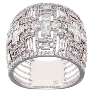 Azaro 18k White Gold 1 7/8ct TDW Baguette Diamond Anniversary Ring (G-H, SI2-I1)