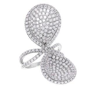 Azaro 18k White Gold 4ct TDW Diamond Petal Design Ring (G-H, SI2-I1)