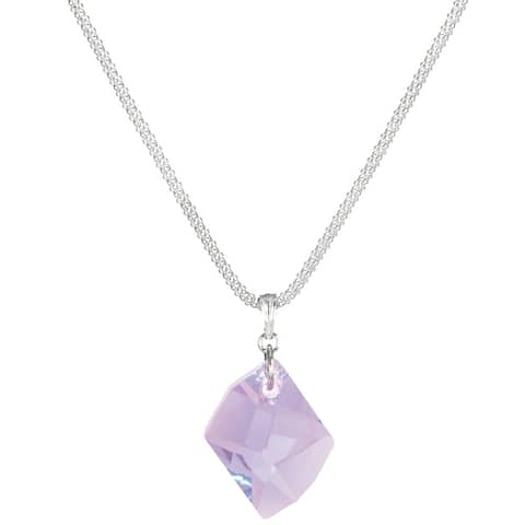 Handmade Jewelry by Dawn Sterling Silver Violet Cosmic Crystal Popcorn Chain Necklace (USA)