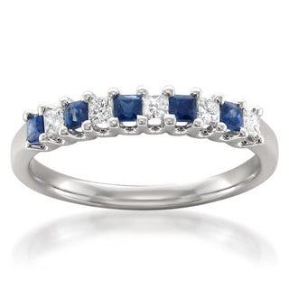 Brides Across America by Montebello 14k White Gold Blue Sapphire and 1/5ct TDW White Diamond Wedding Band (H-I, I1-I2)