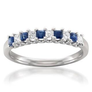 Montebello 14k White Gold Blue Sapphire and 1/5ct TDW White Diamond Wedding Band (H-I, I1-I2)