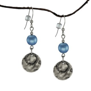 Handmade Jewelry by Dawn Blue With Hammered Double Drop Earrings (USA)