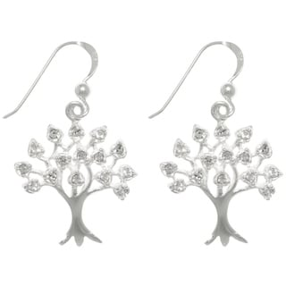 Carolina Glamour Collection Sterling Silver Cubic Zirconia Sparkling Tree of Life Dangle Earrings
