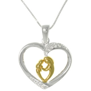 Carolina Glamour Collection Sterling Silver and 18k Yellow Gold Heart Pendant Necklace of mother and child
