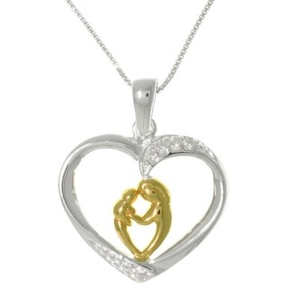 Sterling Silver and 18k Yellow Gold Heart Pendant Necklace of mother with child