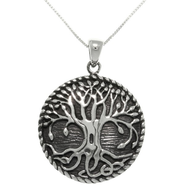 Sterling silver rope edge celtic tree of life pendant for What is the meaning of the tree of life jewelry