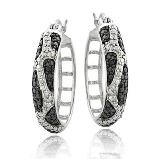 DB Designs Silvertone Black Diamond Accent Animal Print Hoops Earrings