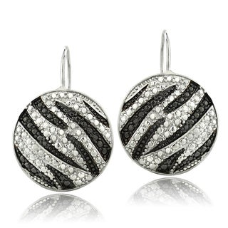 DB Designs Silvertone Black Diamond Accent Zebra Prints Leverback Earrings