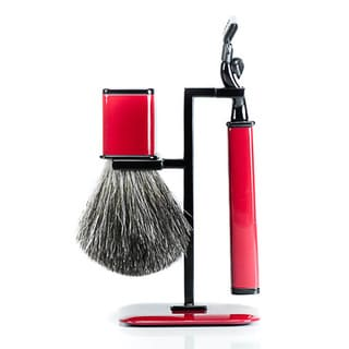Red Mach 3 Head and Badger Brush 3-piece Shaving Set