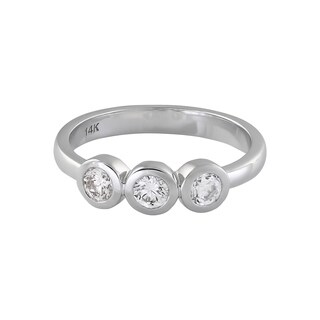 Beverly Hills Charm 14k White Gold 1/2ct TDW Bezel 3-stone Ring (H-I, SI1-SI2)
