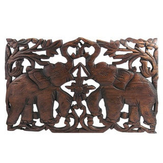 Jubilant Thai Elephant Hand-carved Teak Wood Relief Wall Art Panel (Thailand)