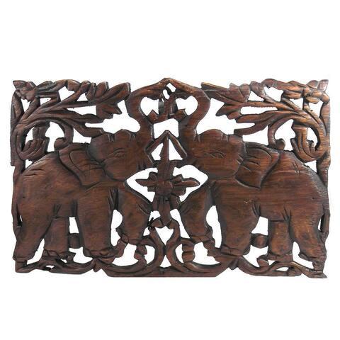 Jubilant Thai Elephant Handmade Teak Wood Relief Wall Art Panel (Thailand)