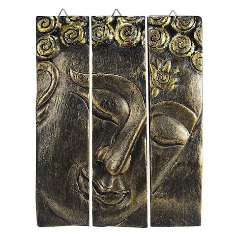 Handmade Golden Buddha Face Three Panel Wood Wall Art (Thailand)