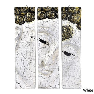 Golden Buddha Face Three Panel Hand-carved Handmade Wood Wall Art (Thailand) (Option: White)