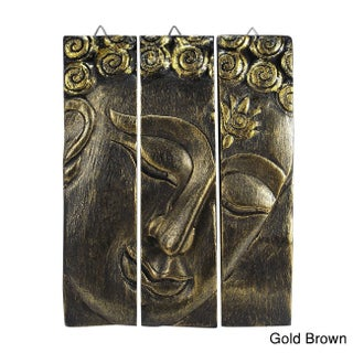 Golden Buddha Face Three Panel Hand-carved Handmade Wood Wall Art (Thailand) (Option: Gold Brown - Architecture)