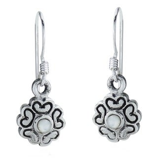 Handmade Heart Flower of Love MOP .925 Silver Dangle Earrings (Thailand)