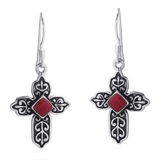 Handmade Victorian Cross Red Faith Coral .925 Silver Earrings (Thailand)