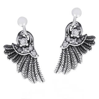 Handmade Angelic Wings Cubic Zirconia Array .925 Silver Earrings (Thailand)