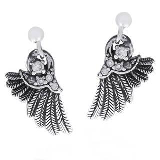 Handmade Angelic Wings Cubic Zirconia Array .925 Silver Earrings (Thailand)