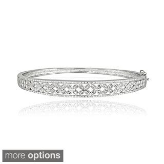 DB Designs Sterling Silver 1/3ct TDW Diamond Flower Bangle Bracelet