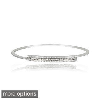 DB Designs Sterling Silver 1/3ct TDW White or Black Diamond Bar Bangle