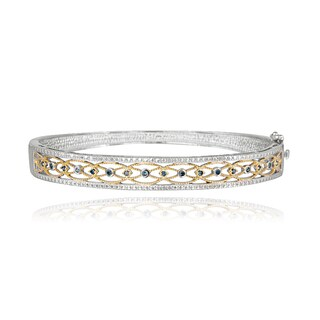 DB Designs Two-tone Sterling Silver 1/6ct TDW Blue Diamond Filigree Bangle