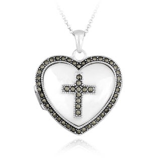 Glitzy Rocks Sterling Silver Marcasite and Mother of Pearl Heart Cross Locket Necklace