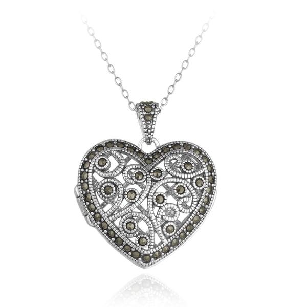 Glitzy Rocks Sterling Silver Marcasite Filigree Heart Locket Necklace