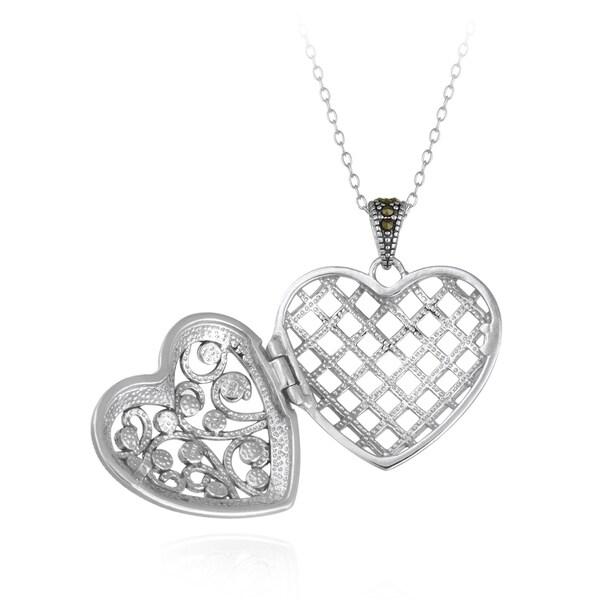 925 Silver Marcasite Filigree Heart Pendant 18 Inches