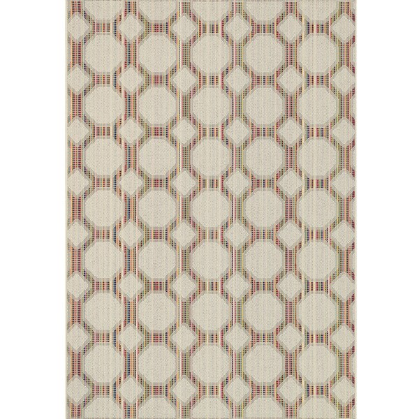Indoor/ Outdoor Paradise Geometric Beige/ Multi  Rug (7'10 x 10'9)