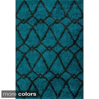 Contemporary Trellis Shag Area Rug - 5'2 x 7'7