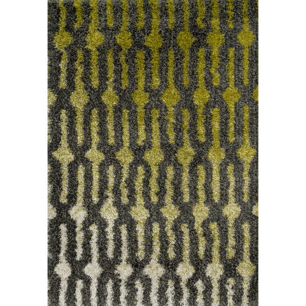Shop Contemporary Green/ Grey Geometric Shag Area Rug