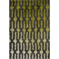 Contemporary Green/ Grey Geometric Shag Area Rug - 5'2 x 7'7